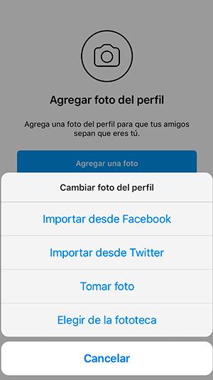 Instagram te muestra como agregar una foto de perfil