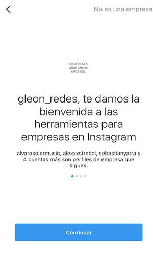 La imagen muestra la bienvenida que te da instagram para las herramientas para empresas
