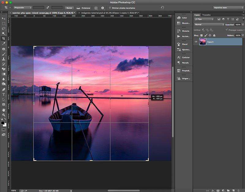 Cambia el tamaño de la imagen con la herramienta Recortar en Photoshop