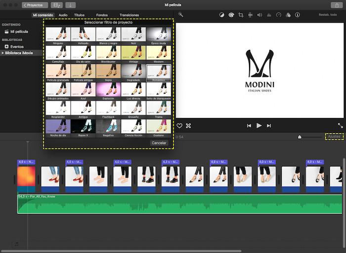 Cuadro de filtros para el video con imágenes