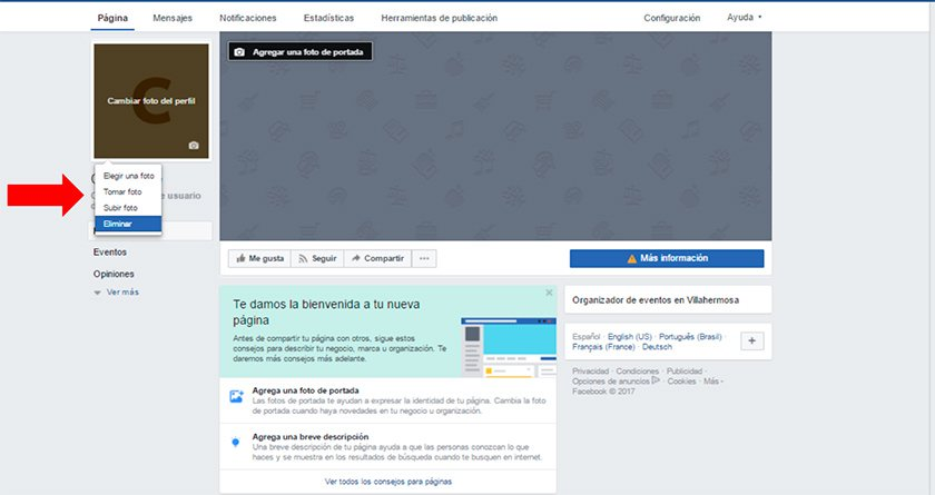 Captura de pantalla mostrando como cambiar la foto y portada de tu página