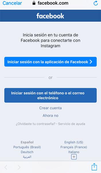 Conéctate a facebook