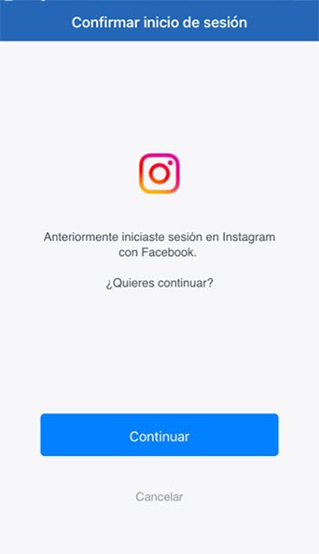 Confirma el inicio de sesión de Instagram en Facebook
