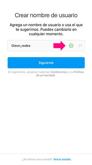 Crea el nombre del usuarios para tu cuenta