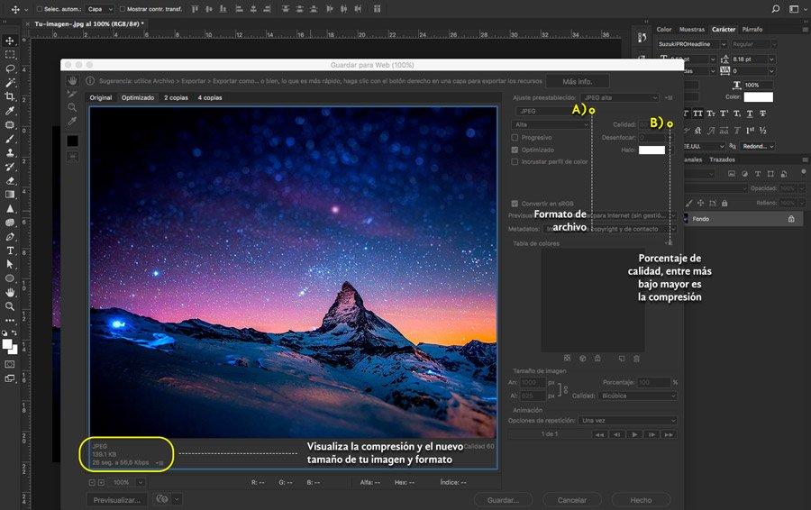 Cuadro y especificaciones de la imagen optimizada en photoshop