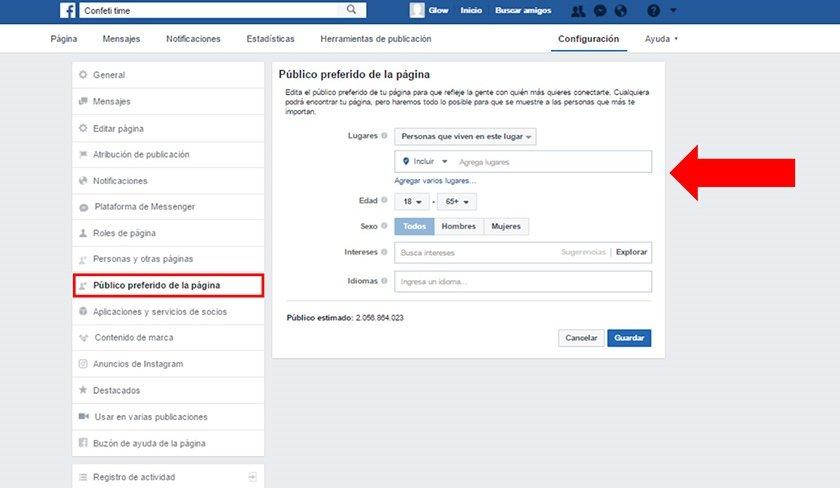 Selecciona la segmentación de tu página