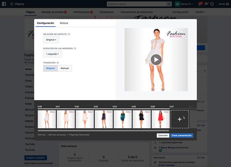 Cuadro representativo de las imagenes seleccionadas para crear la presentacion