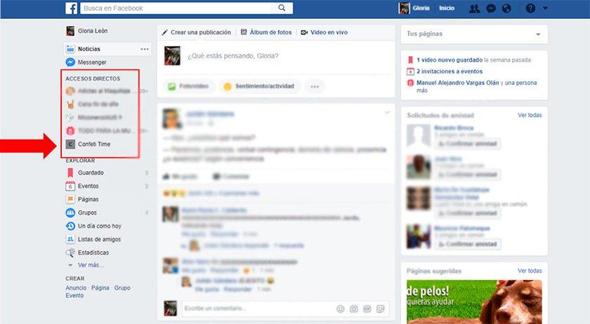 Cómo aparece tu página fija en tu perfil