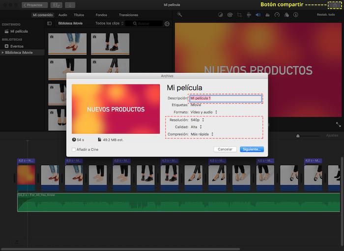 Cuadro de opciones de guardado para el video en iMovie