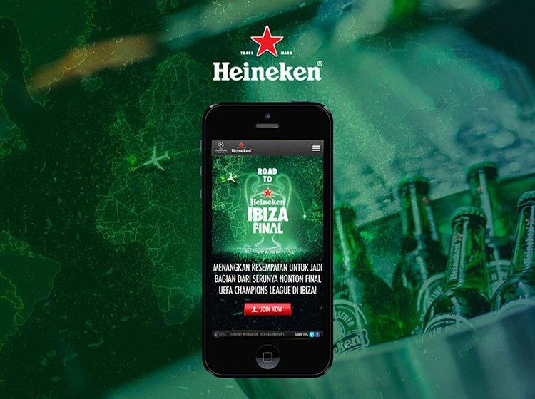 Ejemplo de la publicidad de Heineken para la campaña de whatsapp marketing