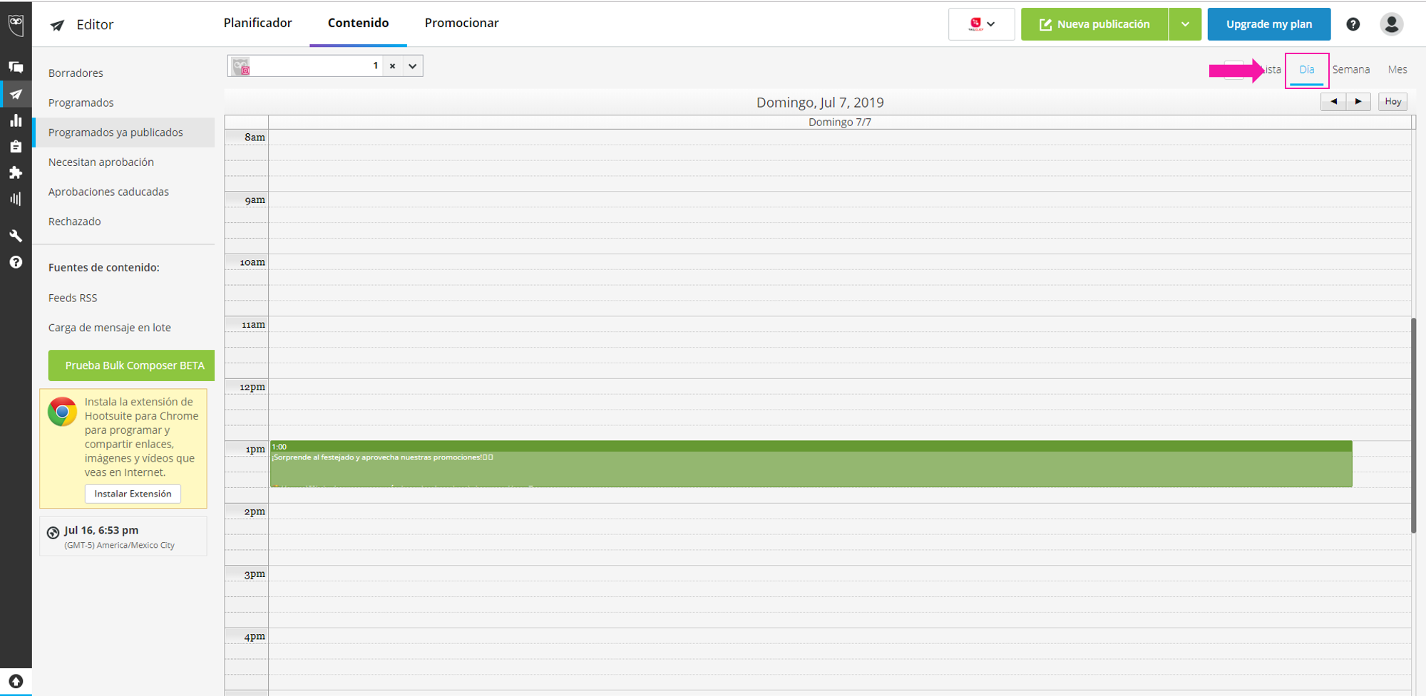 Captura de pantalla de la opción: Día