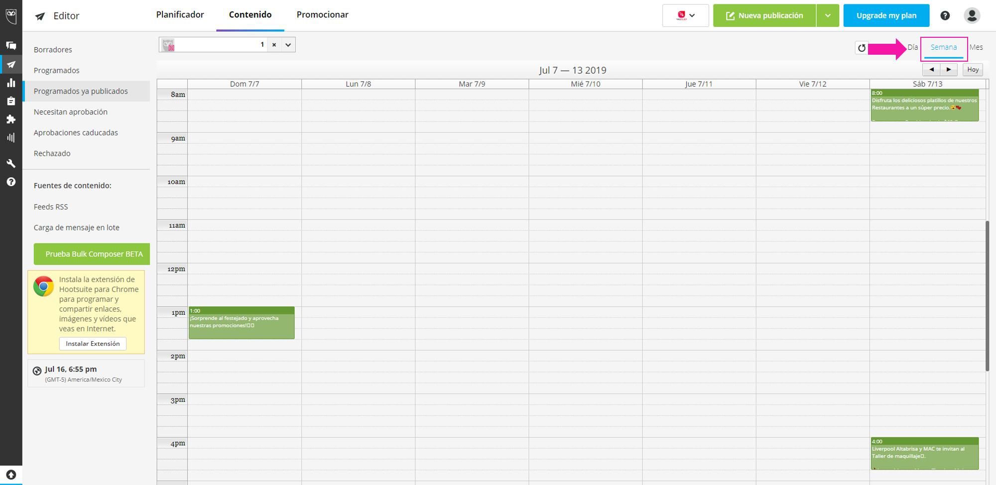 Captura de pantalla de la opción: semana