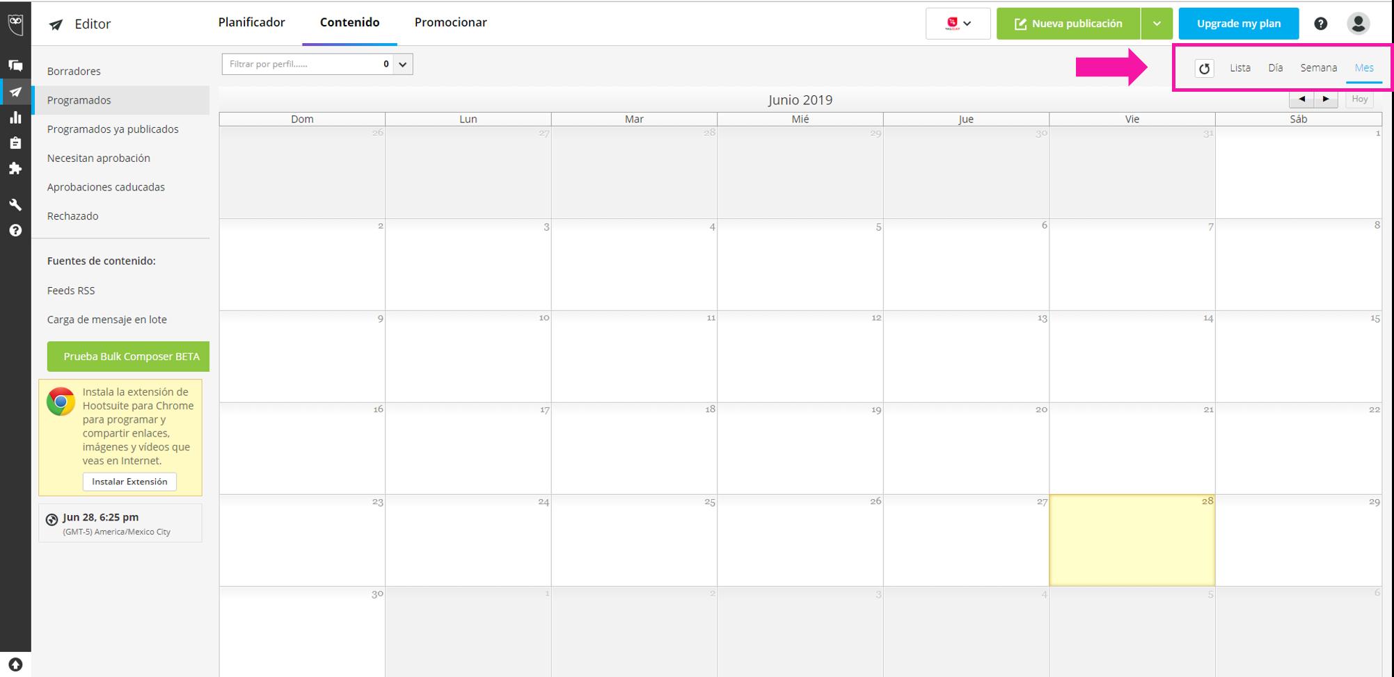 Captura de pantalla de las opciones de visualización de publicaciones programadas