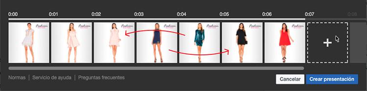 Representacion de como ordenas las imagenes que se van a usar para el video en facebook