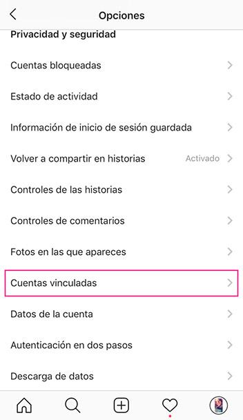 Selecciona la opción: cuentas vinculadas