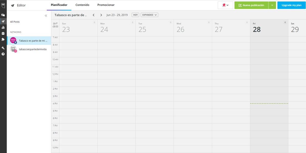 Captura de pantalla de Tablero de Hootsuite