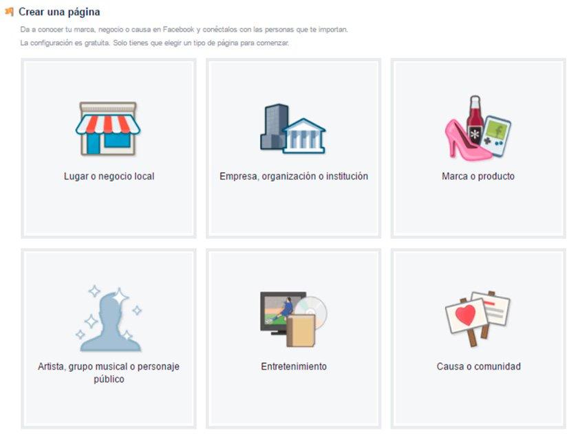 Tipos de páginas de facebook