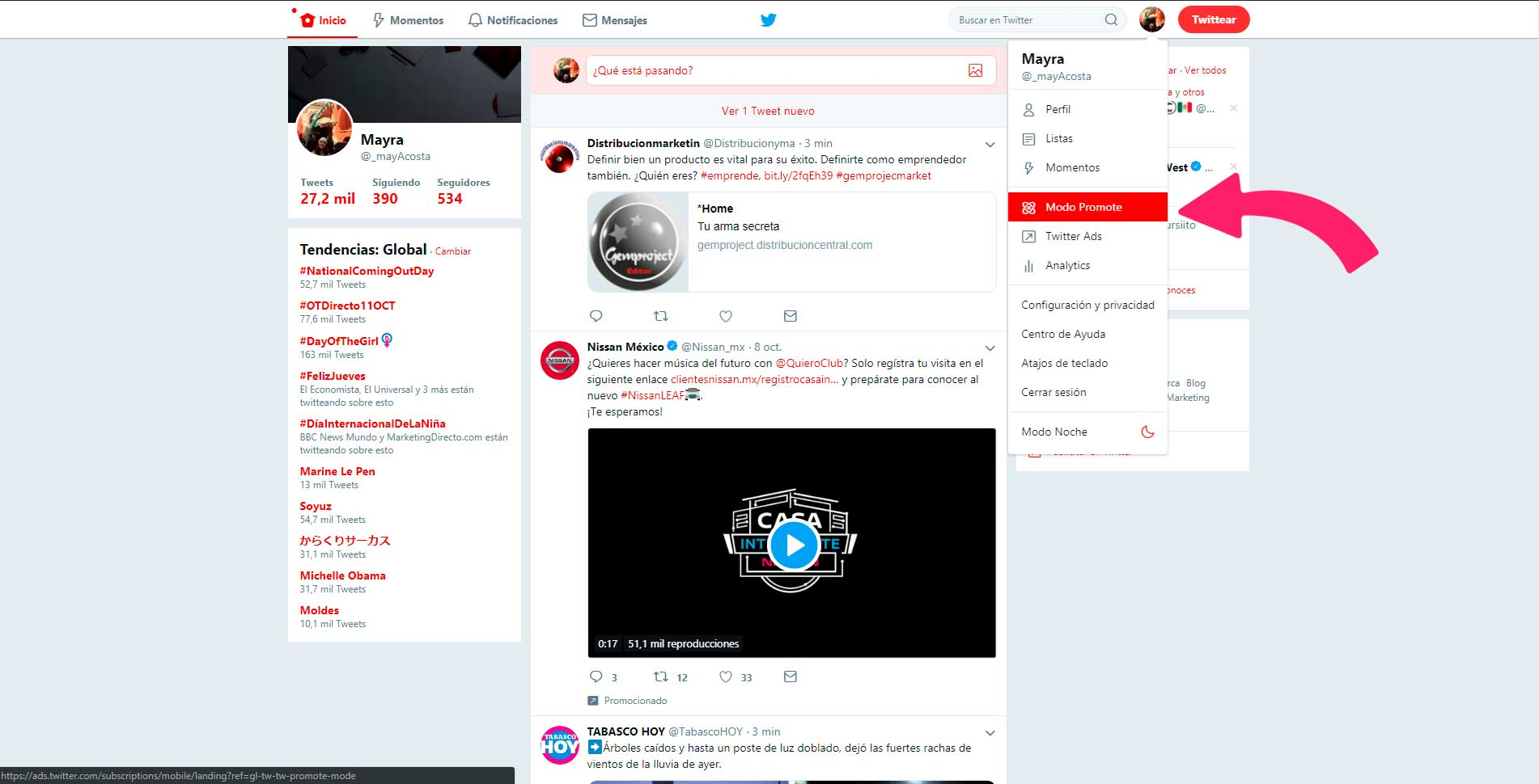 Twitter Ads y quick promote