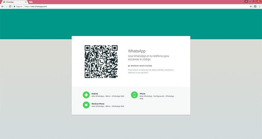 Captura de pantalla WhatsApp web