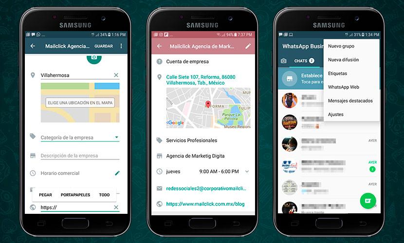 Agrega dirección, sitio web y horarios de servicio en el Whatsapp Business