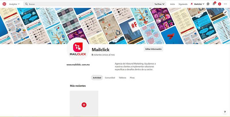 Captura de pantalla del perfil completo de Mailclick en Pinterest