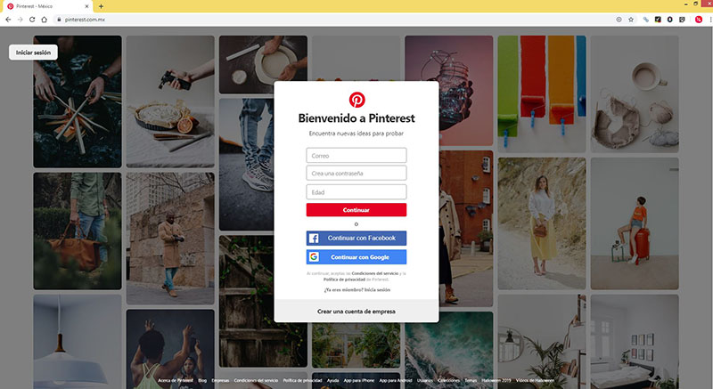 Captura de pantalla del sitio web de Pinterest