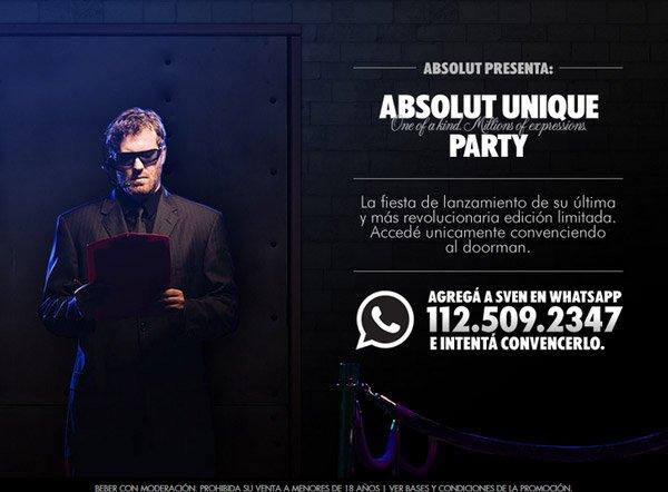 Ejemplo publicidad de la campaña de whatsapp marketing Absolute Unique Party