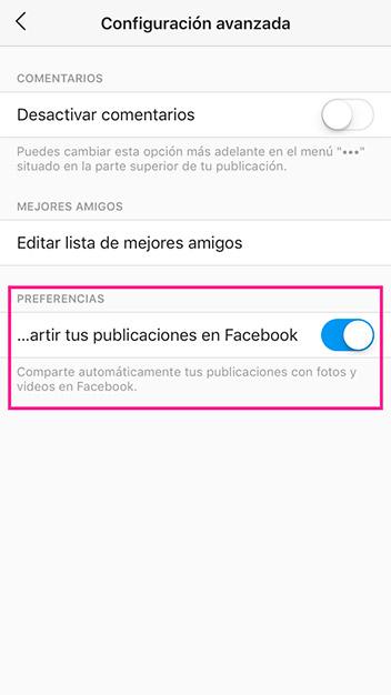 Activa compartir automáticamente en Facebook