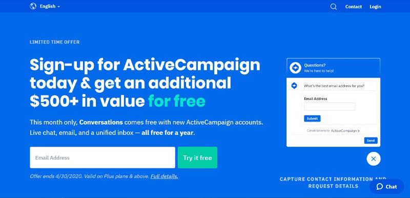 Captura de pantalla de Active Campaign