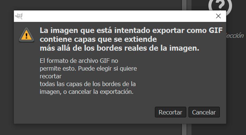 Captura de pantalla de la advertencia antes de exportar el gif en Gimp