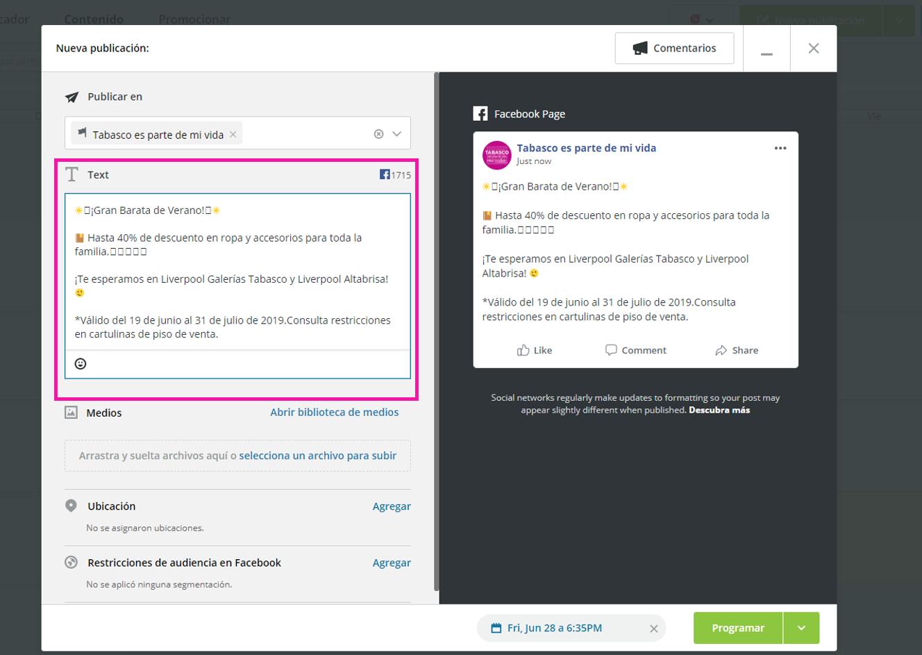 Captura de pantalla mostrando el lugar para el copy de tu publicación