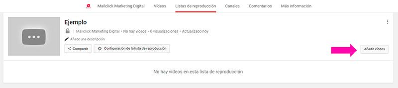 Captura de pantalla mostrando cómo agregar videos a tu lista de reproducción