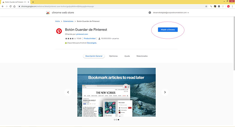 Captura de pantalla de la Chrome Web Store para agregar el botón de Pinterest al navegador