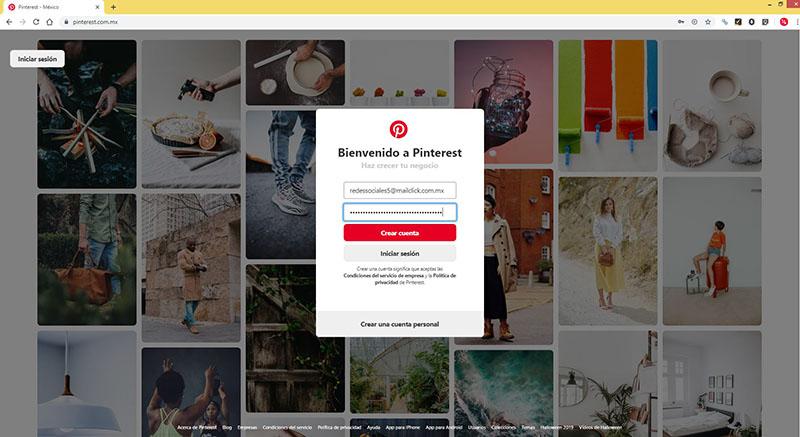Captura de pantalla agregando los datos de la cuenta empresarial en Pinterest