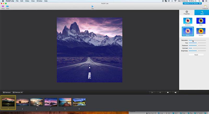 Captura de pantalla de la barra de efectos y la previsualización de la imagen