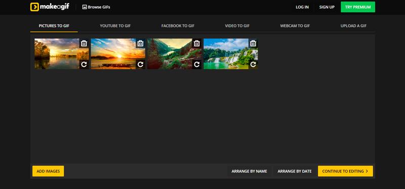 Captura de pantalla de la previsualizacion de las imágenes cargadas en Makeagif