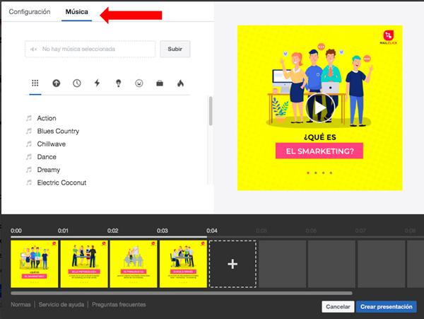 Captura de pantalla señalando el botón de añadir música