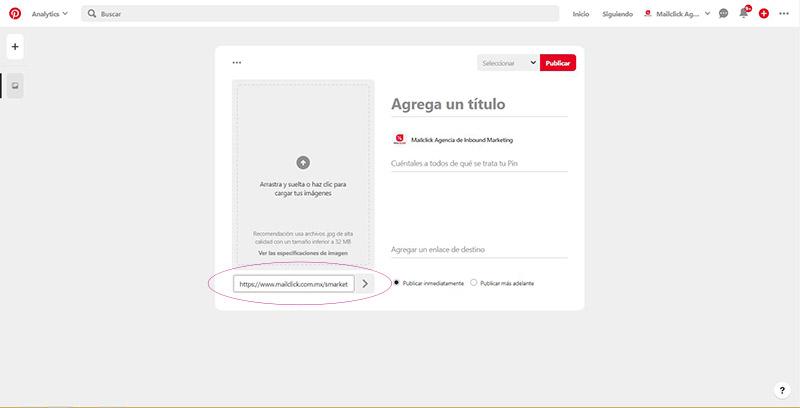 Captura de pantalla con la url de Mailclick añadida para crear un pin