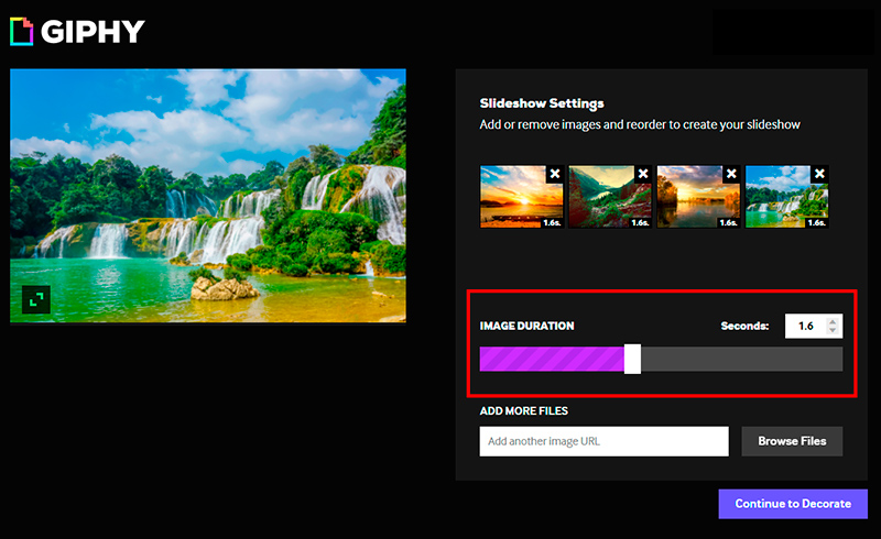 Captura de pantalla con la barra de ajuste de tiempo en Giphy seleccionada