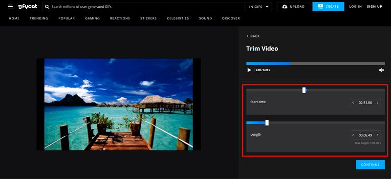Captura de pantalla con las barras de tiempo seleccionadas