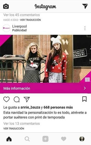 Ejemplo de anuncio en instagram tipo imagen