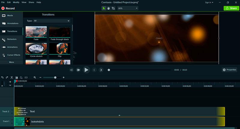 Aplica un efecto de transición al clip de video en Camtasia