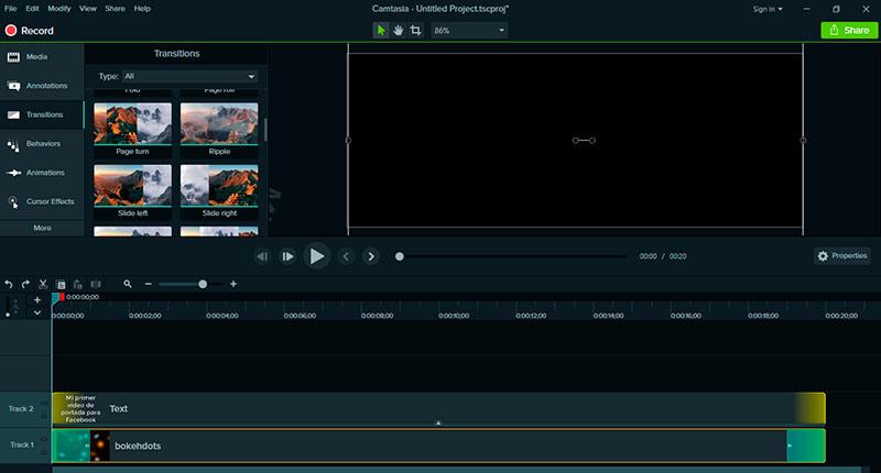 Aplica una transición como efecto de salida al clip de video en Camtasia