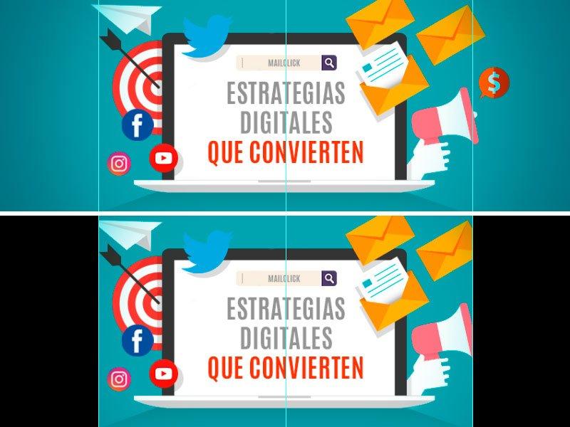 Comparativa del área visible de una portada de Facebook en un navegador y en dispositivos móviles