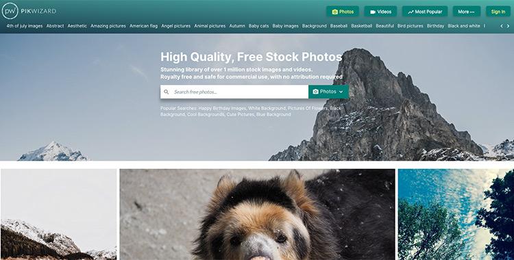 Captura de pantalla de la página de inicio del banco de imágenes PikWizard