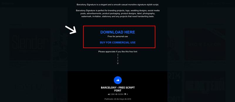 Captura de pantalla de Behance para descargar fuentes gratis