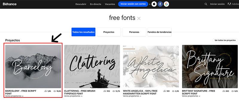 Captura de pantalla de la selección de la tipografía gratis