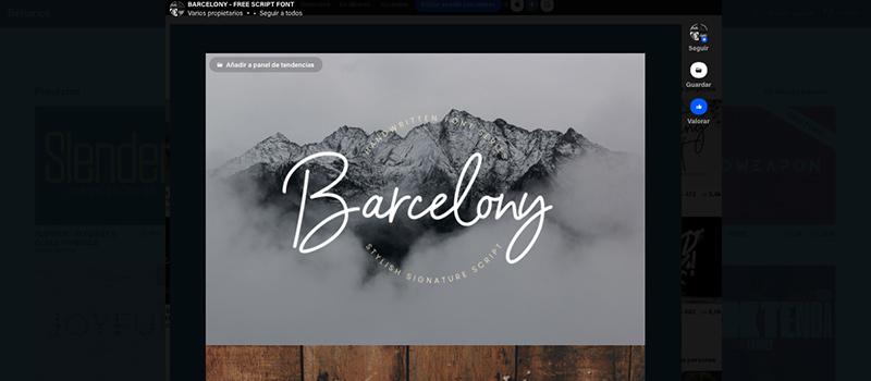 Captura de pantalla de la vista de tipografías gratis