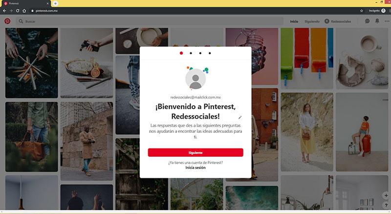 Captura de pantalla del mensaje de bienvenida en la página de Pinterest