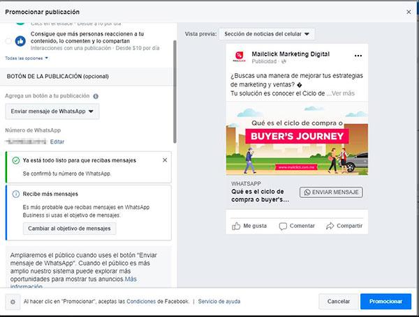 Captura de pantalla de anuncio de Facebook con botón de WhatsApp configurado